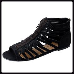 6c92a60003976 Sandalup Womens Fringed Flat Sandals Black Size 75   Read more at the image  link. (This is an affiliate link)