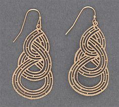 Simply Whispers jewelry pierced earrings gold French hook etched knot design drop