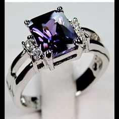 Purple Amethyst 10kt white gold ring 10Kt white Gold Stamped Purple  Amethyst  Diamond Ring . Size 7 . Brand new . Never worn, no prob box included . Wrapped and shipped with care and tracking. Ice Jewelry Rings