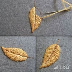 Satin stitch for leaves