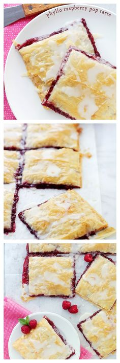 Phyllo Raspberry Pop Tarts with Vanilla Glaze | www.diethood.com | Layers of Phyllo Sheets filled with Raspberry Jam and topped with a sweet Vanilla Glaze. | #recipe #breakfast #dessert #raspberries
