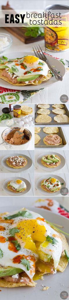 I could substitute black beans and egg whites. You will not want to save these Easy Breakfast Tostadas just for breakfast! This flavor-packed recipe is great for breakfast, lunch or dinner. Breakfast Dishes, Breakfast Time, Best Breakfast, Breakfast Recipes, Breakfast Healthy, Mexican Breakfast, Breakfast Ideas, Tostadas, Comida Diy