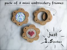 Miniature embroidery frames  Pack of 3 x flower by creativemuster, $12.00