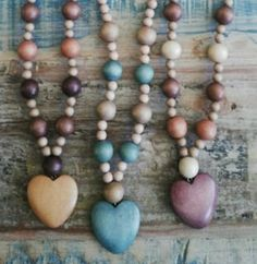 Items similar to Polished necklace with heart and various beads from south africa on Etsy Beaded Jewelry, Beaded Necklace, Beaded Bracelets, Unique Jewelry, Necklaces, Jewellery, Bead Shop, Applique, My Etsy Shop