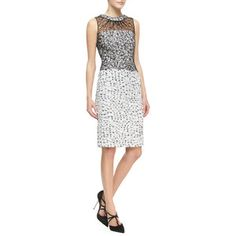 Oscar de la Renta Sleeveless Lace-Overlay Tweed Dress