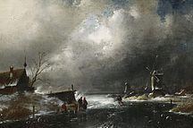 Charles Leickert: Winterliche Flußlandschaft aus unserer Rubrik: Gemälde des 19. Jahrhunderts