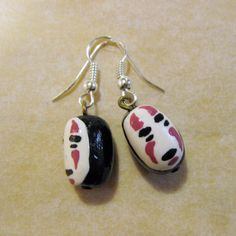 Ghibli Studios character No Face fimo clay earrings by AnniCrafting on Etsy