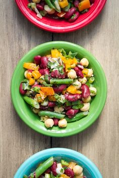 This Speedy Three-Bean Salad comes together in less than 15 mins flat! Nutritional info included. #recipes #vegan