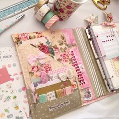 love the vintage colours of this planner.see FB page for ChelleyDarling for more amaze pics! Cute Planner, Planner Layout, Planner Pages, Happy Planner, Planner Stickers, Planner Ideas, My Planner Colibri, Kikki K, Digital Bullet Journal