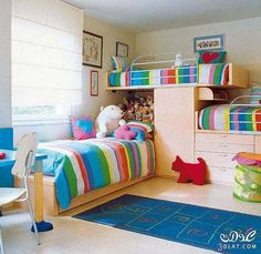 Triple bunk beds for boys and girls.