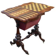Victorian Burr Walnut Work Table or Games Table | From a unique collection of antique and modern game tables at https://www.1stdibs.com/furniture/tables/game-tables/