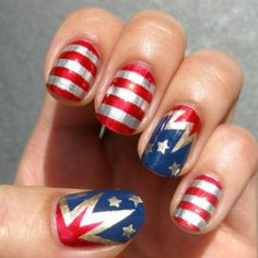 These could double as Wonder Woman nails for halloween! Another Pinner says: Patriotic Nails for the of July - Get Nails, Love Nails, How To Do Nails, Pretty Nails, Color Nails, Shellac Colors, Easy Nails, Nails And More, Hair And Nails