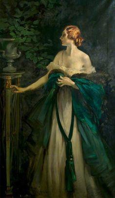 Portrait of a Lady in Green - William Bruce Ellis Ranken