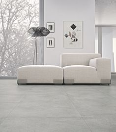 Porcelain stoneware wall/floor tiles with concrete effect CEMENTO by Casalgrande Padana Living Room And Kitchen Design, Open Plan Kitchen Living Room, Living Room Grey, Living Room Designs, Living Spaces, Living Room Flooring, Living Room Furniture, Small Open Plan Kitchens, Polished Concrete Flooring