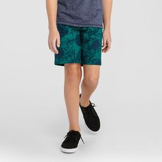 Boys' Flat Front Chino Shorts Cat & Jack Green Palm 14