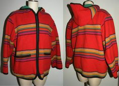 1980s 80s Jacket / coat / hood / striped / BLANKET / wool / women's / Vintage M / Bold / Chic - pinned by pin4etsy.com