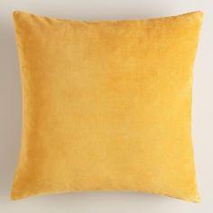 "$9.99 - $29.99 18""x18"" / 24""x24"" Mustard Yellow Velvet Throw Pillow | World Market"