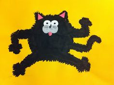 Splat the Cat! Paint, pipe cleaner to scratch up sides, paper face parts-cute!