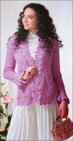 Chaqueta cargada de romanticismo / patrones crochet
