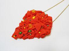 Collar geométrico naranja por petiteblasa en Etsy