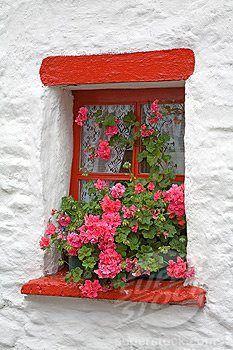 Ventana en rojo sobre pared blanca da un contraste muy bonito.