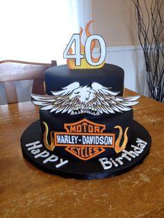 Harley Davidson Cake - Cake by Emily Foley 18th Birthday Cake, Birthday Cakes For Men, Cakes For Boys, Torta Harley Davidson, Harley Davidson Birthday, Fondant Cakes, Cupcake Cakes, Cupcakes, Motorcycle Cake