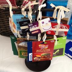 Bridal Shower Game Prizes- different gift cards.                                                                                                                                                                                 More