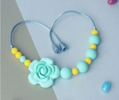 Girls necklace Silicone Chew Beads Silicone Teether Chew