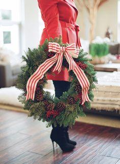 wreath + striped ribbon