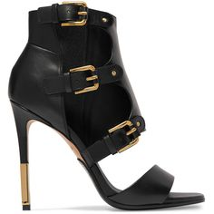 Balmain Alienor buckled leather sandals (€935) ❤ liked on Polyvore featuring shoes, sandals, heels, leather strap sandals, high heel sandals, strappy high heel sandals, black leather sandals and leather sandals