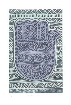 "In Marrakesh the ""Hand of Fatima"" good luck symbol was to be seen everywhere. The intricate patterns in a myriad of shapes and complexities engraved in silver charms, jewellery, brass and tin utensils, carved in wood, woven in fabrics and painted on ceramics.  3 colour linocut."