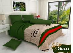SpreiMaster: Sprei & Bed Cover Santika Gucci Gucci Bedding, Duvet Bedding, Comforter Sets, Luxury Bedding, Gold Bedroom, Bedroom Sets, Bedroom Decor, Designer Bed Sheets, Bed Sets