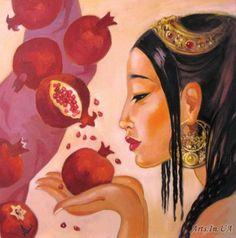 Pomegranate Art, Arm Art, Fruit Painting, Turkish Art, Fruit Art, Illustrations And Posters, Ancient Art, Collage Art, Art Lessons