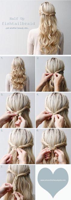 diy - tutorial - fish braid - Updo - half up and half down - pretty curly hair