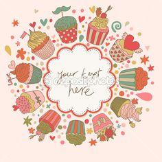 Fondo sabroso con pastelitos. tarjeta de vector de dibujos animados dulce. gran idea para la invitación de vacaciones — Ilustración de stock #25360383