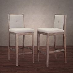 Patterson Beige Linen Barstools (set Of 2)