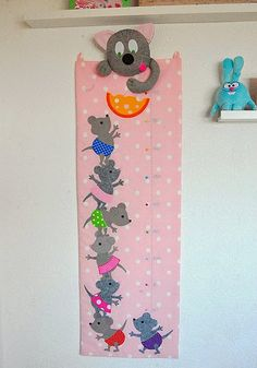 Made by Irinelli Growth Chart Wood, Material Didático, Height Chart, Felt Ornaments, Sewing For Kids, Preschool Activities, Wind Chimes, Paper Flowers, Baby Kids