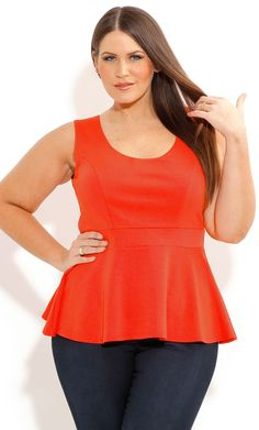 SCOOP PEPLUM TOP - Women's Plus Size Fashion