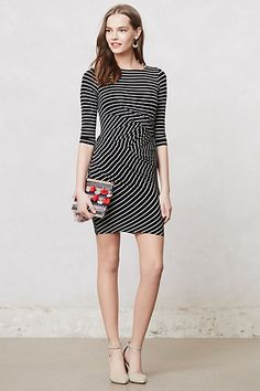 Gamine Striped Dress  #anthropologie. A little short.  Would be so cute with tights :)