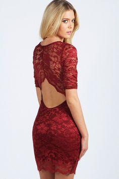 Nina Scallop Detail Open Back Lace Bodycon Dress at boohoo.com