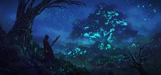 concept for a forest overrun with bioluminescent moss for more art, follow me on facebook: www.facebook.com/eddie.mendoza…