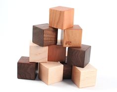 12-piece natural wooden blocks - colorful hardwood building block set with homegrown organic finish, montessori baby, eco-friendly for kids. $15.00, via Etsy.