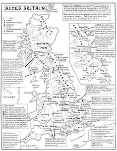 Maps of Anglo-Saxon Britain. This Map is based upon Bede's Ecclesiastical History. History Of England, Uk History, European History, British History, World History, Family History, Tudor History, African History, Scotland History