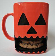 Pumpkin Mug. Hand Painted Orange Jack o Lantern Dunk Mug. Milk & Cookies. Kids Monster Mug. Children's Cup.
