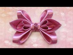 How to make a hair bows, Ribbon bows, Kanzashi Tatiana Vasyliuk, Как сде. Diy Lace Ribbon Flowers, Ribbon Art, Diy Ribbon, Ribbon Crafts, Ribbon Bows, Fabric Flowers, Hair Ribbons, Diy Hair Bows, Diy Bow