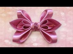 How to make a bow of satin ribbon for hair. How to make a hair bow - YouTube