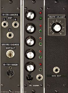 """""""Truth adjust,"""" control panel detail from Wendy Carlos's synthesizer"""
