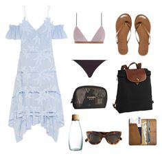 """""""Pool Day"""" by ahessah on Polyvore featuring Zimmermann, Retap, Chanel, CÉLINE, self-portrait, CO and Tkees"""