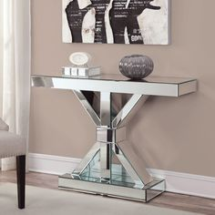 Coaster Furniture Mirrored Modern Console Table | from hayneedle.com