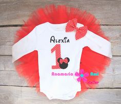 Costumas aniversar Minnie rosu buline tutu by Anamaria Ami